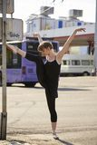 Ballerina. Rehearsing in the city stock photo