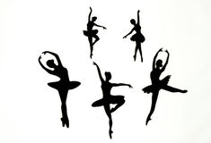 Ballerina's op een witte achtergrond Stock Foto's