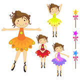 Ballerina set. Set of beautiful ballerina characters standing and  dancing with different pose with stars Stock Images