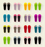 Ballerina shoes flat colorful  set Stock Photography