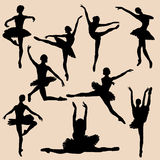 Ballerina silhouette black set Royalty Free Stock Photography