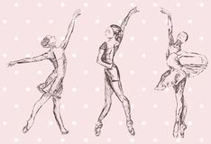 Ballerina isolated sketch silhouette on pink background stock illustration
