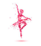 Ballerina silhouette of pink rose petals. Vector ballerina silhouette of pink rose petals Stock Photo