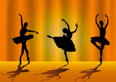 Ballerina silhouettes Stock Images