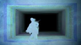 Ballerina som gör piruett mot bakgrund av den pappers- tunnelen, datordiagram royaltyfri illustrationer