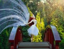 Ballerina som poserar i parkera royaltyfria bilder