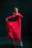 Ballerina som poserar i pointeskor på den svarta träpaviljongen Fotografering för Bildbyråer