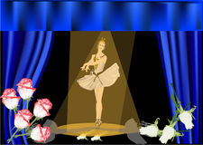 Ballerina at stage illustration Stock Photo