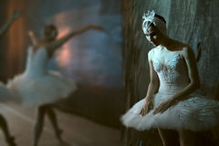 Ballerina standing backstage before going on stage Royalty Free Stock Images