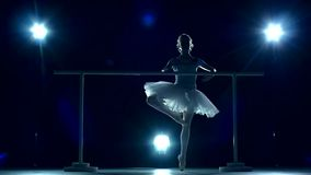 Ballerina standing near a wooden wall on pointe stock footage