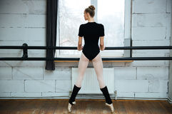 Ballerina standing on poite in ballet class Stock Image
