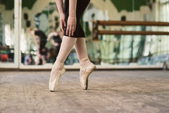 Ballerina standing on toes Stock Photos