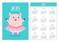 Ballerina sveglia di porcellino del maiale Illustrazione di balletto dancer Layout calendario semplice della tasca 2019 nuovi ann illustrazione vettoriale