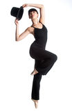 Ballerina with Top Hat Royalty Free Stock Images