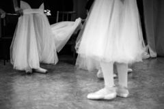 Ballerina is training in the dance hall. royalty free stock photos