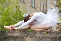 Ballerina training herself Royalty Free Stock Images