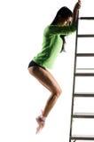 Ballerina in treni del pointe fotografia stock libera da diritti