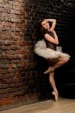 Ballerina in tutu near brick wall Stock Photography