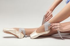 Ballerina tying pointe shoes while sitting on white stu. Dio background, close-up. indoor, studio shot royalty free stock photo