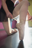 Ballerina tying the ribbon on her ballet slippers Royalty Free Stock Image