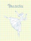 Ballerina in un fondo del scrittura-book. Immagine Stock Libera da Diritti