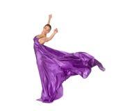 Ballerina in violet satijn Royalty-vrije Stock Fotografie