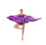 Ballerina in vliegend weefsel Royalty-vrije Stock Foto's