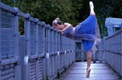 Ballerina on walkway Royalty Free Stock Photos