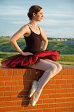 Ballerina on a wall Royalty Free Stock Images
