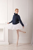 Ballerina in a warm sweater Royalty Free Stock Photo