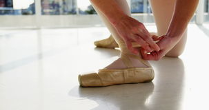 Ballerina wearing ballet shoes stock video footage