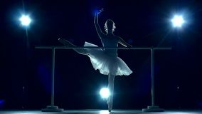 Ballerina is wearing white tutu and pointe shoes stock video footage