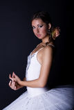 Ballerina in white tutu Royalty Free Stock Photo