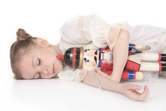 Ballerina who holding a nutcracker Stock Photos