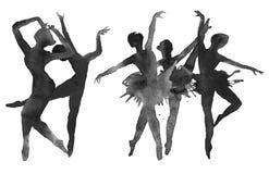 Ballerina zwart-wit geïsoleerde versie watercolor Stock Afbeelding