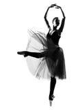 ballerinadansaredansen hoppar silhouettekvinnan Arkivfoto
