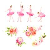 Ballerinadansen poserar och den nya designen för vektorn för vårblommabuketter vektor illustrationer
