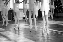 Ballerinas που χορεύει στην αίθουσα μπαλέτου στοκ φωτογραφίες