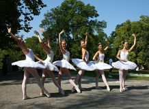 Ballerinas. In the event named Under the crowns of Topcider's plane trees,in September 2011.,in Belgrade park Topcider,students of ballet school Lujo Davico Royalty Free Stock Photos