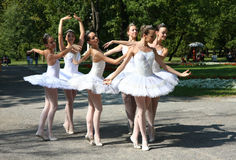 Ballerinas. In the event named:Under the crowns of Topcider's plane trees,in September 2011.,in Belgrade park Topcider,students of ballet school Lujo Davico Royalty Free Stock Photo