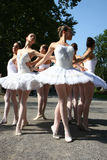 Ballerinas. In the event named:Under the crowns of Topcider's plane trees,in September 2011.,in Belgrade park Topcider,students of ballet school Lujo Davico Stock Photos