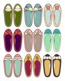 Ballerinas. Nine different ballerinas. Bright and happy colored Stock Photo