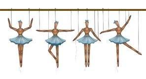 Ballerinas concept, set of wooden marionette dancers in different poses,. Vector vector illustration