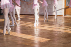 Ballerinas dancing in the ballet hall Royalty Free Stock Images