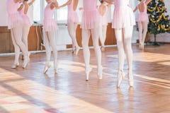Ballerinas dancing in the ballet hall stock images