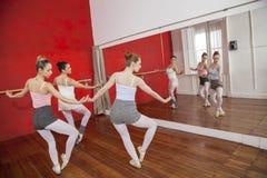 Ballerinas Dancing In Front Of Mirror At Studio Stock Images