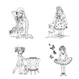 Ballerinas and Dress Up. An original set of little ballerina and dress up digital stamps. Lovely to work with and looks great in colour Royalty Free Stock Photos