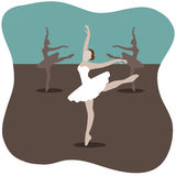 Ballerinas flat design on blue and taupe.  Royalty Free Stock Image