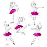 Ballerinas little girls dancing children Stock Photos