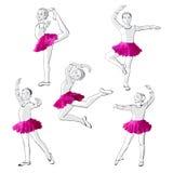 Ballerinas little girls dancing children. Ballerinas little girls in a pink dress and pointe Stock Photos